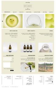 אתר יקב ספרה - SPHERA Winery: דף בית מורכב מאוד עם הרבה אלמנטים ש'נשאבים' ממקורות שונים באתר (קליק לגודל מלא)